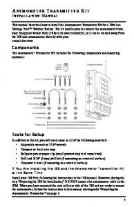 A NEMOMETER TRANSMITTER KIT INSTALLATION MANUAL