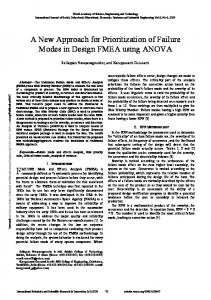 A New Approach for Prioritization of Failure Modes in Design FMEA using ANOVA