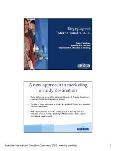 A new approach to marketing a study destination