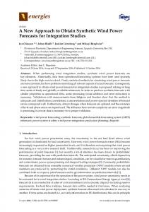 A New Approach to Obtain Synthetic Wind Power Forecasts for Integration Studies
