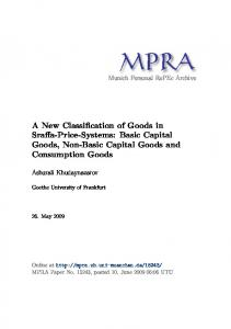 A New Classification of Goods in Sraffa-Price-Systems: Basic Capital Goods, Non-Basic Capital Goods and Consumption Goods