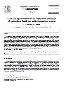 A new conceptual framework to improve the application of occupational health and safety management systems