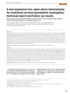 A new expansive two-open-doors laminoplasty for multilevel cervical spondylotic myelopathy: technical report and follow-up results