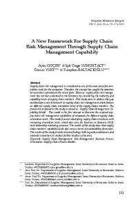 A New Framework For Supply Chain Risk Management Through Supply Chain Management Capability