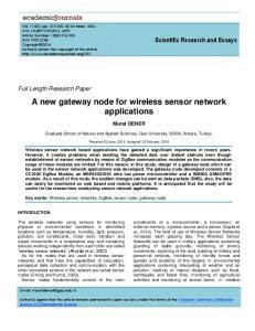 A new gateway node for wireless sensor network applications