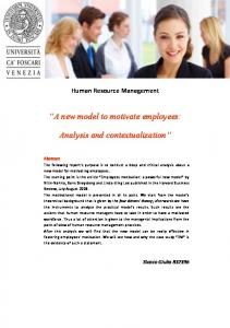 A new model to motivate employees: Analysis and contextualization