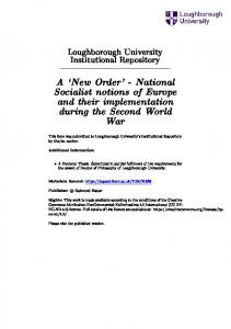 A `New Order' - National Socialist notions of Europe and their implementation during the Second World War