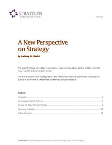 A New Perspective on Strategy