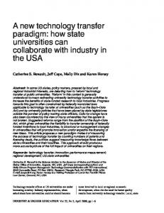 A new technology transfer paradigm: how state universities can collaborate with industry in the USA