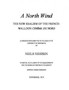 A North Wind THE NEW REALISM OF THE FRENCH- WALLOON CINÉMA DU NORD A DISSERTATION SUBMITTED TO THE FACULTY OF UNIVERSITY OF MINNESOTA BY