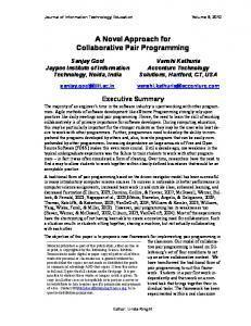 A Novel Approach for Collaborative Pair Programming