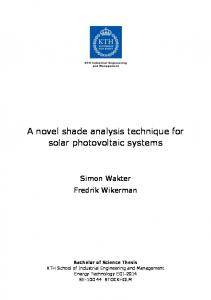 A novel shade analysis technique for solar photovoltaic systems