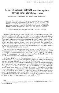 A novel subunit ISCOM vaccine against bovine virus diarrhoea virus