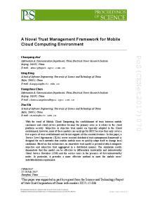 A Novel Trust Management Framework for Mobile Cloud Computing Environment