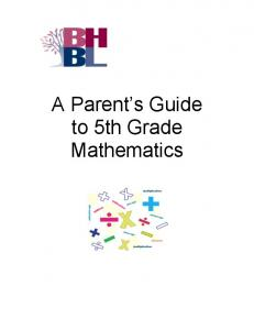 A Parent s Guide to 5th Grade Mathematics