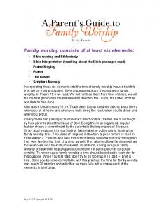 A Parent s Guide to Family Worship