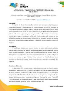 A PEDAGOGIA TRADICIONAL PROPOSTA PELO RATIO STUDIORUM