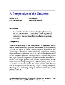 A Perspective of the Universe