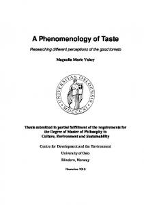 A Phenomenology of Taste