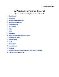 A Physics 416 Fortran Tutorial