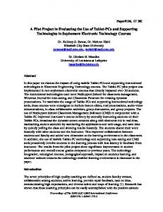 A Pilot Project in Evaluating the Use of Tablet-PCs and Supporting Technologies in Sophomore Electronic Technology Courses