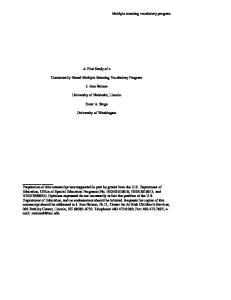 A Pilot Study of a. Contextually-Based Multiple Meaning Vocabulary Program. J. Ron Nelson. University of Nebraska, Lincoln. Scott A