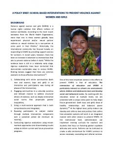 A POLICY BRIEF: SCHOOL-BASED INTERVENTIONS TO PREVENT VIOLENCE AGAINST WOMEN AND GIRLS