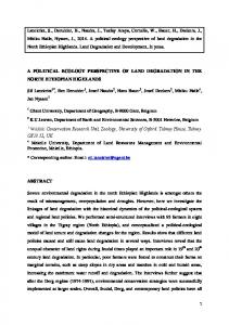 A POLITICAL ECOLOGY PERSPECTIVE OF LAND DEGRADATION IN THE NORTH ETHIOPIAN HIGHLANDS