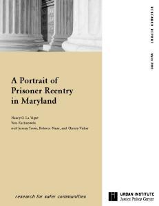 A Portrait of Prisoner Reentry in Maryland