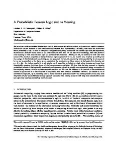 A Probabilistic Boolean Logic and its Meaning