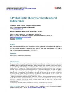 A Probabilistic Theory for Intertemporal Indifference