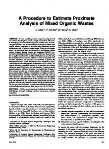 A Procedure to Estimate Proximate Analysis of Mixed Organic Wastes