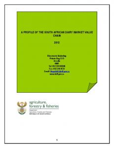 A PROFILE OF THE SOUTH AFRICAN DAIRY MARKET VALUE CHAIN