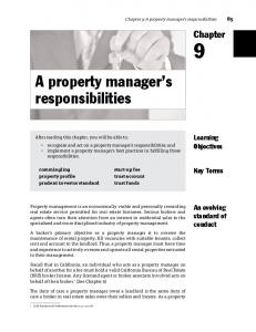 A property manager s responsibilities