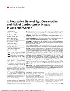 A Prospective Study of Egg Consumption and Risk of Cardiovascular Disease in Men and Women JAMA. 1999;281: