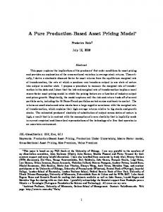 A Pure Production-Based Asset Pricing Model