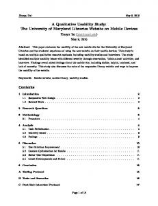 A Qualitative Usability Study: The University of Maryland Libraries Website on Mobile Devices