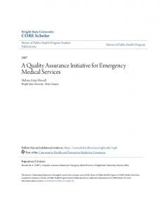 A Quality Assurance Initiative for Emergency Medical Services