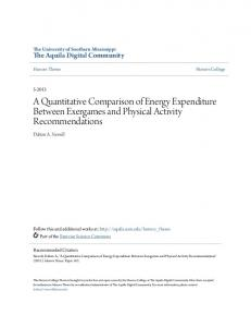 A Quantitative Comparison of Energy Expenditure Between Exergames and Physical Activity Recommendations