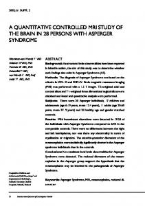 A QUANTITATIVE CONTROLLED MRI STUDY OF THE BRAIN IN 28 PERSONS WITH ASPERGER SYNDROME