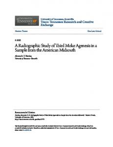 A Radiographic Study of Third Molar Agenesis in a Sample from the American Midsouth
