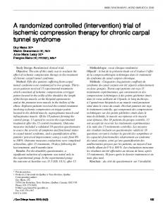 A randomized controlled (intervention) trial of ischemic compression therapy for chronic carpal tunnel syndrome