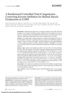 A Randomized Controlled Trial of Angiotensin- Converting Enzyme Inhibition for Skeletal Muscle Dysfunction in COPD