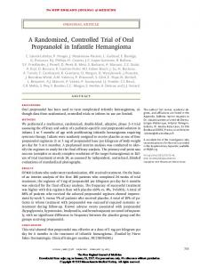 A Randomized, Controlled Trial of Oral Propranolol in Infantile Hemangioma
