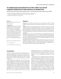 A randomized controlled trial of the effect of a brief cognitive-behavioral intervention on dental fear