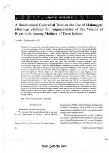 A Randomized Controlled Trial on the Use of Malunggay