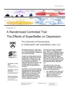 A Randomized Controlled Trial: The Effects of SuperBetter on Depression
