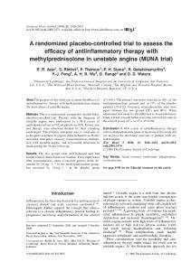 A randomized placebo-controlled trial to assess the efficacy of antiinflammatory therapy with methylprednisolone in unstable angina (MUNA trial)