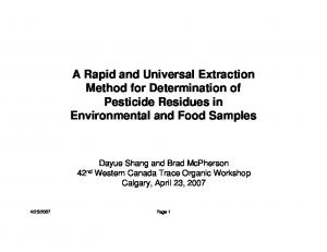 A Rapid and Universal Extraction Method for Determination of Pesticide Residues in Environmental and Food Samples