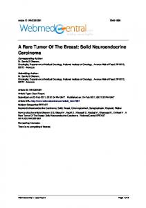 A Rare Tumor Of The Breast: Solid Neuroendocrine Carcinoma